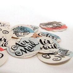Air Mail Stickers, Package of 20 Airmail Envelope Seals, Modern Calligraphy Stickers by KisforCalligraphy. $7.50, via Etsy.