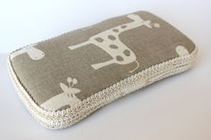 Boutique Baby Wipe Case Taupe Giraffe LIMITED EDITION by FoxyVida, $14.00