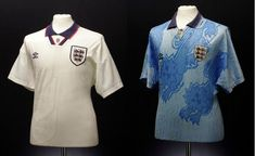 We catalogue 50 years of kit history, with our favourite of Umbro's England Shirts and kits and run-downs of the technology they used. England Kit, Polo Ralph Lauren, Soccer Jerseys, Mens Tops, Shirts, Fashion, Football Shirts, Moda, Football Jerseys