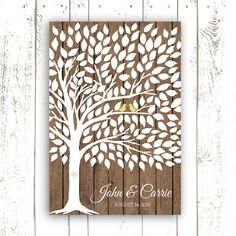 Wedding Guest Book Tree on Wood Background - Guest Book Poster with 175 Leaves - Modern Wedding Guest Book Print