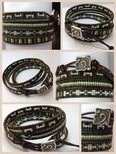 Green mix miyuki bracelet ▪Dark brown leather ▪Silver square button