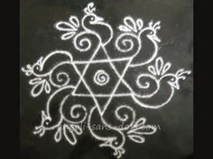 simple rangoli with birds patterns