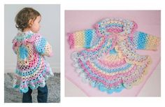Crochet Pretty Circle Jacket with Pattern Crochet Circle Vest, Crochet Jacket Pattern, Crochet Circles, Crochet Poncho, Crochet Lace, Crochet Toddler Sweater, Knitting Patterns, Crochet Patterns, Crochet Baby Clothes