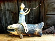 Blue - fish - man - ceramic