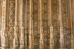 Pillars in the unfinished cloisters of Batalha, Portugal