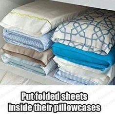 Put folded sheets into pillowcases so you never lose them and end up with mismatched sheets. Perfect organization idea for home. Duh.