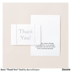 """Shop Basic """"Thank You!"""" Card created by AponxDesigns. Thank You Greeting Cards, Thank You Greetings, Appreciation Cards, Personalized Note Cards, Paper Envelopes, Colored Paper, Cards Against Humanity, Messages, Prints"""