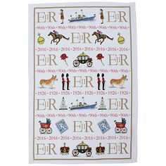 Celebrating Britain ~ The Queen's 90th Birthday Tea Towel by Milly Green