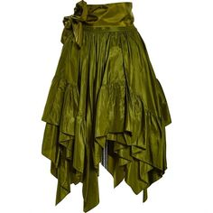 Pre-owned Yves Saint Laurent Silk Mid-Length Skirt ($262) ❤ liked on Polyvore featuring skirts, green, women clothing skirts, knotted asymmetrical skirt, green silk skirt, wrap skirt, frilly skirt and stretch skirt