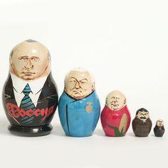 Political matryoshka dolls. Putin Russian President Nesting Dollis a classical Russian... http://russian-crafts.com/nesting-dolls/political/matryoshka-russian-president-putin.html