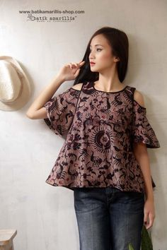 batik amarillis painter's blouse made with Batik gedog Tuban on muslin .. Lovely and Romantic A Line Hem with bell shaped sleeves, Shoulder Cutout Top....