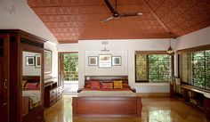 Master Bedroom - A Rural Retreat, Gholvad - Dahanu, Thane Indian Interior Design, Indian Home Design, Kerala House Design, Kerala Traditional House, Traditional House Plans, Traditional Bed Frames, Indian Bedroom Decor, Indian Home Decor, Indian Bedroom Design
