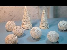 DIY String Ornaments {balls and trees}. DIY String Ornaments {balls and trees} Today I will show you how to make lacy hollow cone and balls to me used as Christmas decorations. You will need white glue, water and cotton string. Rustic Christmas Ornaments, Tabletop Christmas Tree, Christmas Angels, Christmas Tree Decorations, Christmas Diy, Polish Christmas, Christmas Trees, Christmas Cookies, Tree Crafts