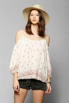 Ecote Cold Shoulder Peasant Blouse #urbanoutfitters