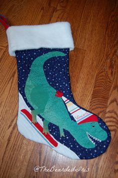 TheBeardedIris Handmade Dinosaur Christmas Stocking