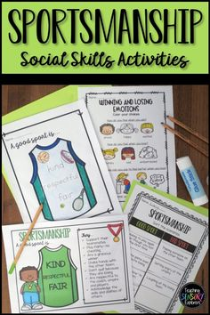 Sportsmanship: Social Skills Worksheets, Activity and Social Narrative Teaching Emotions, Autism Teaching, Teaching Tools, Teaching Resources, Developmental Disabilities, Social Stories, Learning To Be, Social Skills, Life Skills