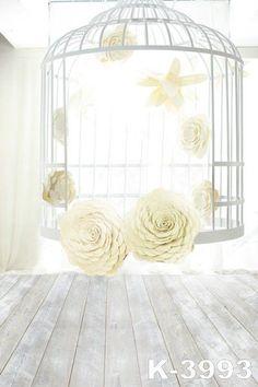 Backdropsphoto Backdropsclothphoto Background 220Cm * 150Cmwood Floors, Birdcage Flowers