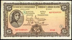 1942 Central Bank of Ireland £5 with War Code D in green ink