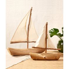 Two's Company/Tozai Home Driftwood Sailboats - Set of 2 ($91) ❤ liked on Polyvore featuring home, home decor, two's company and driftwood home decor