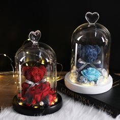 New Teddy Bear Rose Flowers In Glass Dome Christmas Festival DIY Cheap Home Wedding Decoration Birthday Valentine's Day Gifts Disney Christmas Decorations, Home Wedding Decorations, Birthday Decorations, Diy Fest, Glass Domes, Glass Vase, Love Symbols, Aliexpress, Dried Flowers