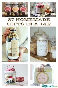 37 Recipes for Gifts In A Jar! Perfect for Christmas gifts or hostess party gifts.