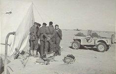 Pilots of No. 3 Squadron RAAF discussing operational plans outside their tents in Libya's western desert, 2 Jan 1942 (Australian War Memorial)