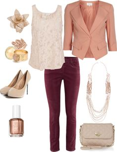 I love the burgundy and blush pink pairing but I'd couple the outfit with charcoal booties and slate gray accessories.