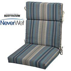 allen + roth Blue Stripe Cushion For High-Back Chair