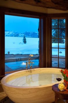 Phillips Ridge. #luxury #bathroom #villa #lodge #winter #USA #Wyoming #Christmas #interior #relax #window #holiday #spa #glamour