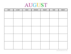 CUTE & COLORFUL CALENDARS TO PRINT - AUGUST - Free Printable Blank Monthly Calendars - 2017, 2018, 2019, 2020+ -