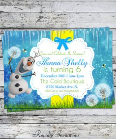 Disney Frozen Olaf Birthday Party Invitation Kids Birthday Princess on Etsy, $5.00
