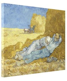 Siesta (after Millet) by Vincent Van Gogh Stretched #Canvas #Prints. #VanGogh #Vincent #PostImpressionism #Impressionism #painting #Millet #haystacks #farmer #landscape #siesta #art