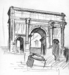 Sketch of the Arc de Triomphe - by Harry Stinson Sketch, France, Interiors, Gallery, Art, Sketch Drawing, Craft Art, Decoration Home, Kunst