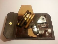 Two toned leather Cigar accessories case by lavishexpressions, $55.00