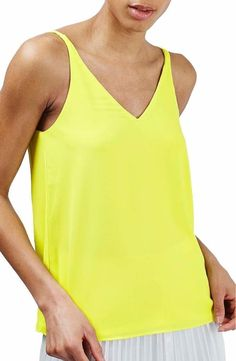 Topshop Double Strap V-Back Camisole Size 6US (uk10) Yellow FTC #3835