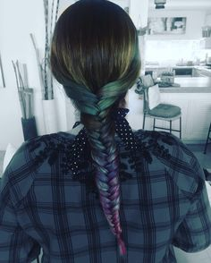 Color hair , pelo a color , blue , azul , mermaid , trenza