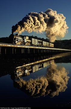 "expecttheunexpectedtoday: "" Taken June 1997 in the early morning - Steam / South African Railways Branch Line Locomotive / Knysna Lagoon trestle / Knysna, Western Cape Province, South Africa / captured by photographer Michael F. Allen who. U Bahn Station, Train Station, Train Tracks, Train Rides, South African Railways, Train Miniature, Old Steam Train, Train Pictures, Old Trains"