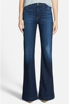 """Figure-flattering, vintage-inspired flare jeans. These sit higher on the waist and gently kick out at the knee.    Measurements: 35"""" inseam; 23"""" leg opening; 10"""" rise   Ginger Flare by 7 For all Mankind. Clothing - Bottoms - Jeans & Denim - Flare & Wide Leg Statesboro, Georgia"""