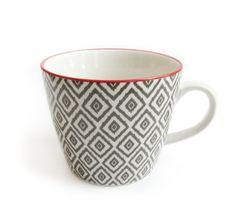 Mug Stamped Grey Diamonds