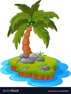 A tropical island vector image on VectorStock Painting Patterns, Fabric Painting, Palm Tree Clip Art, Palm Tree Island, Dinosaur Party Decorations, Fruit Nail Art, Drawing For Kids, Drawing Drawing, Dinosaur Images