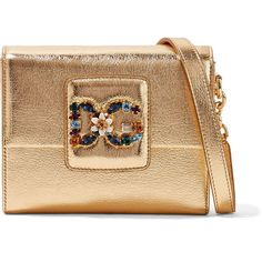 Dolce & Gabbana Millennials embellished metallic textured-leather... (74.475 RUB) ❤ liked on Polyvore featuring bags, handbags, shoulder bags, gold, evening purses, leopard handbag, metallic shoulder bag, evening handbags and shoulder hand bags #ShoulderBags