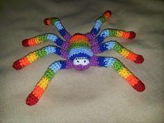 Amigurumi - crocheted rainbow spider