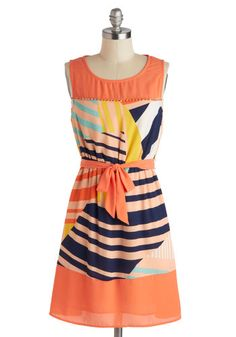 Im Glistening! Dress - Orange, Multi, Beads, Belted, Casual, A-line, Sleeveless, Scoop, Mid-length, Print