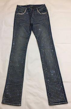 Women's Jeans Fully Embellished Swarovski Skinny Stretch Denim Size 27 #A7 #SlimSkinny