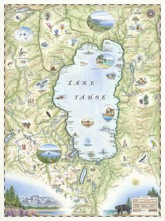 Hand-Drawn Map of Lake Tahoe