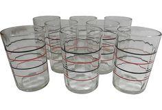 Striped Juice Glasses, Set of 8 on OneKingsLane.com/shop/retroda