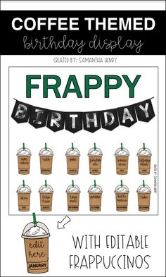 Check out this editable Coffee themed birthday display from Samantha Henry. Birthday Bulletin Boards, Classroom Birthday, 4th Grade Classroom, Middle School Classroom, Classroom Design, Birthday Board, Future Classroom, Classroom Themes, Classroom Organization