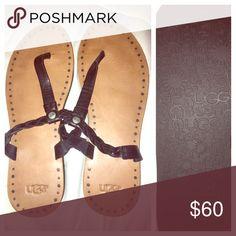 Genuine Ugg Leather Thong Flops Beautiful Ugg black leather flip flops, brand new, never been worn. Missing Box. UGG Shoes Sandals