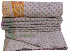 Cotton Bedspread Reversible Gudari Throw Indian Handmade Bedding Vintage Quilt