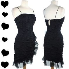 Vintage 80s Black Ruffle Party Dress